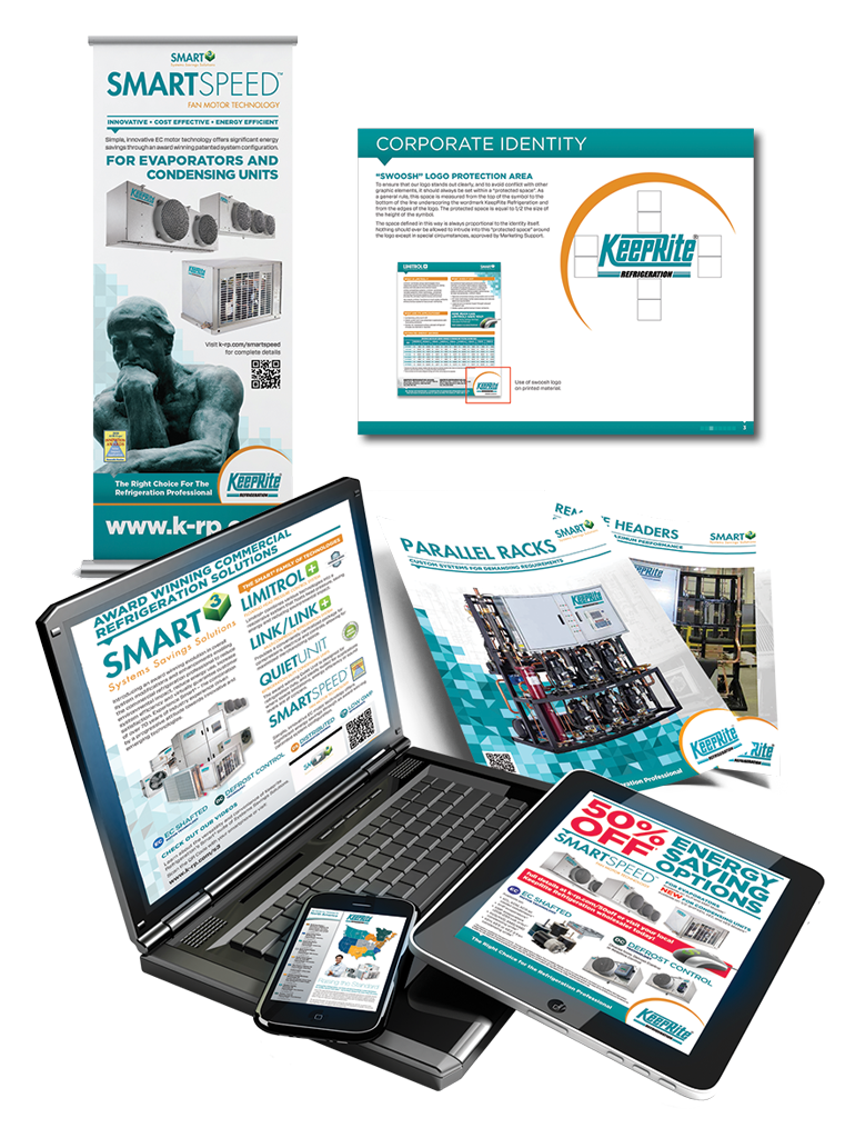 Popup banner, Brand Standards, Sellsheets, and Ads created for KeepRite Refrigeration